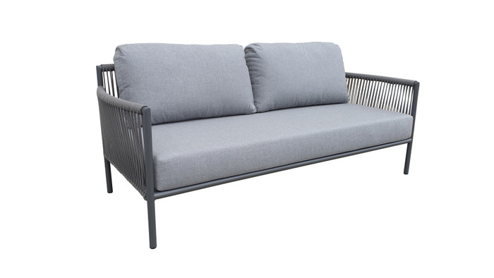 Catania outdoor aluminium and rope sofa 180cm with premium Sunbrella Cast grey fabric