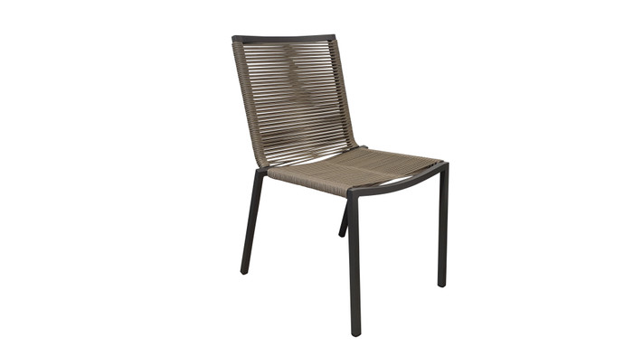 Our Ribbon outdoor STACKABLE dining side chair is a quality chair made with outdoor rope wound around a powder-coated aluminium frame.