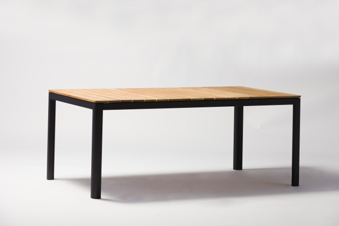 Pebo table shown with charcoal frame. Size shown is 160x90