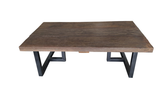 View of Pure Aged Railwood Outdoor Coffee Table - with epoxy black stainless steel legs
