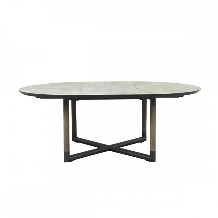 Please note - table top in picture is different from actual table top supplied. Supplied table top is SLATE GREY. Picture is an illustration of the frame colour and design of the table. Bastingage extension table 146-206cm. Shown in extended position.