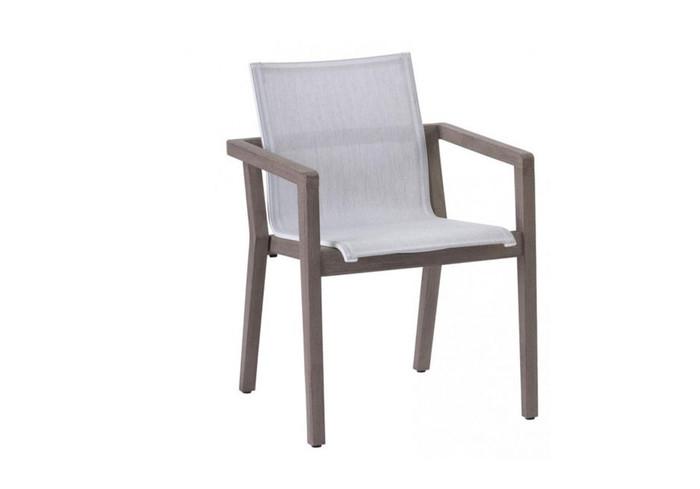 Copenhague dining arm chair by Les Jardins. Teak wood is finished in Duratek coating.  Batyline Eden sling seat.