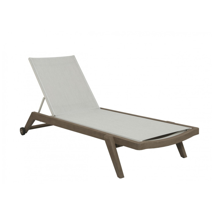 Copenhague outdoor sun lounger by Les Jardins. Finished with Duratek treated teak frame and premium Batyline Eden white fabric.