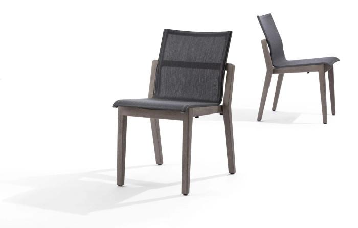 Copenhague outdoor side chair by Les Jardins in premium Batyline Eden grey fabric
