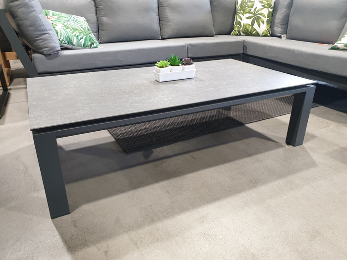 Concept outdoor coffee table with aluminium frame and ceramic top