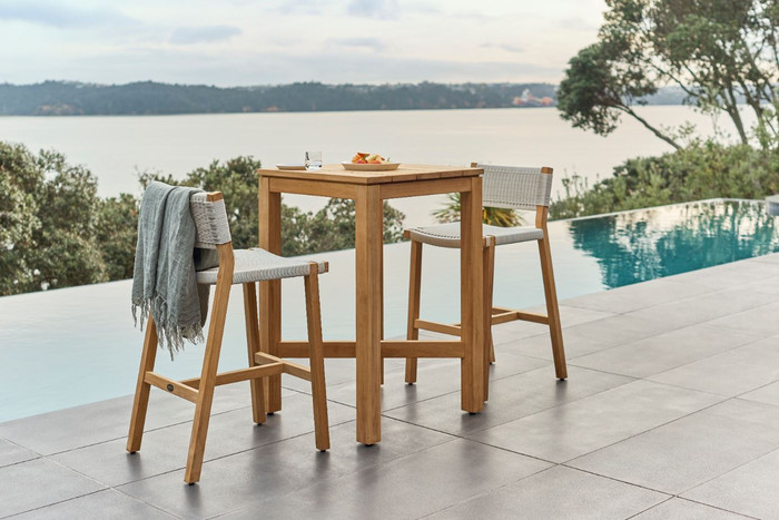 Devon Haast  outdoor bar table in durable teak