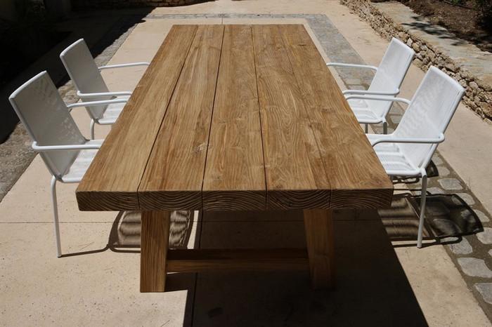 Block aged teak outdoor table 240x100 - Original finish