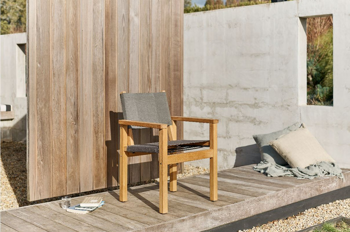 Devon Blake outdoor teak dining chair in latte fabric
