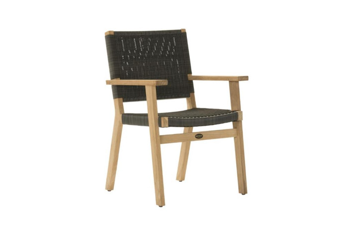 Devon Jackson teak and wicker outdoor dining chair