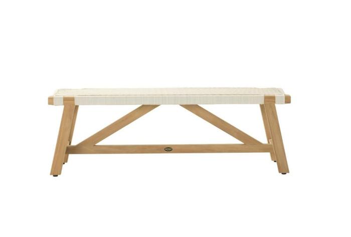 Devon Sawyer outdoor teak bench 140cm in whitewash