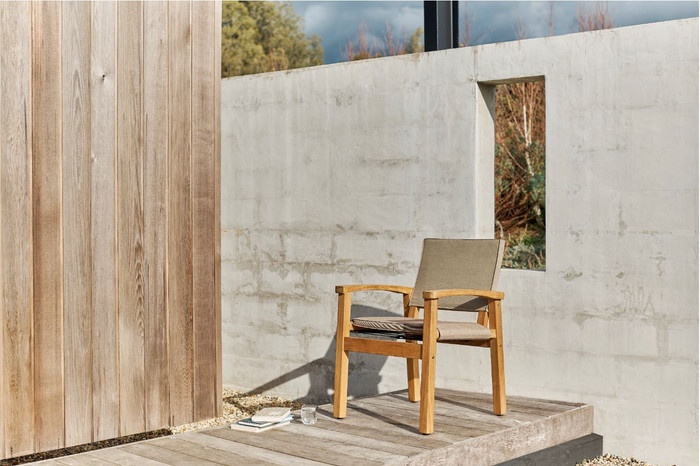 Devon Barker outdoor teak dining chair in latte fabric