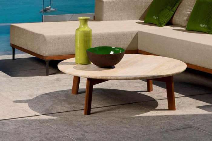 Cleo Outdoor Coffee Table With Teak Wood Frame And Travertine Marble Top By Talenti