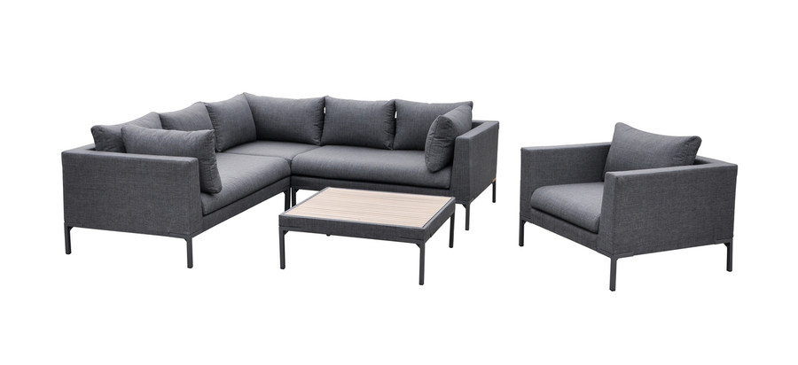 Full set showing arm chair, coffee table, left and right arm sofa and corner sofa