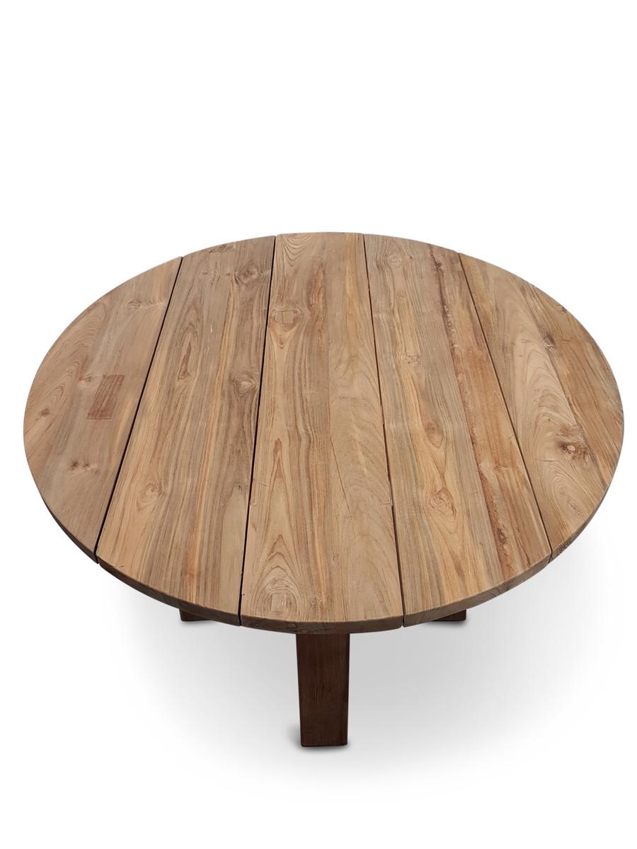Logan Aged Teak Outdoor Table 90cm dia x 77H