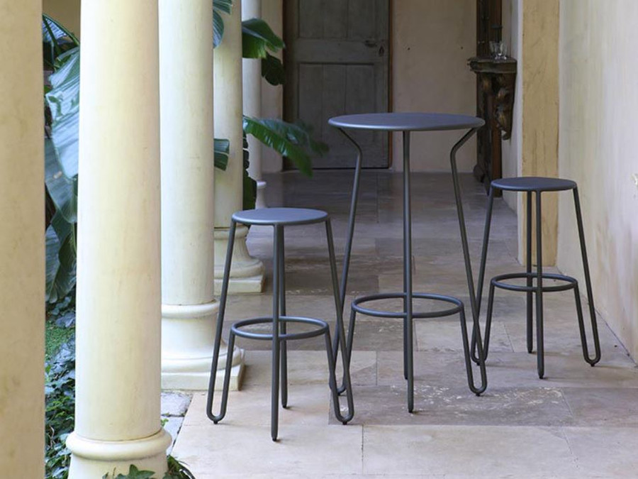 Huggy bar set including Huggy Bar table (available separately) and Huggy bar stools 75cm high.