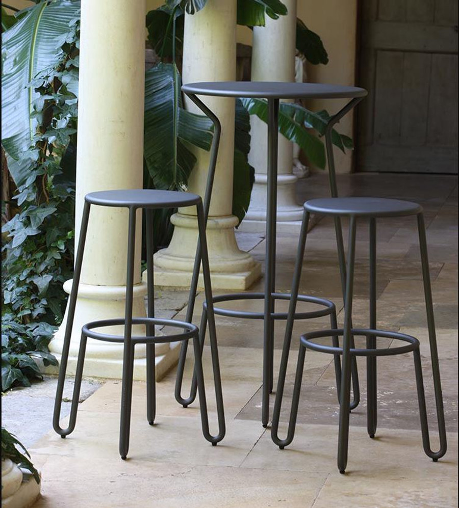 Another picture of Huggy bar set including Huggy Bar table (available separately) and Huggy bar stools 75cm high.