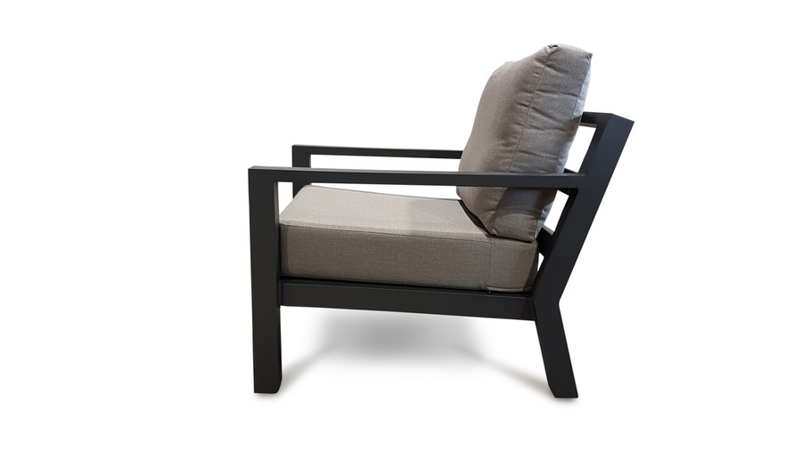 Side view of the Alu Timber outdoor lounge chair