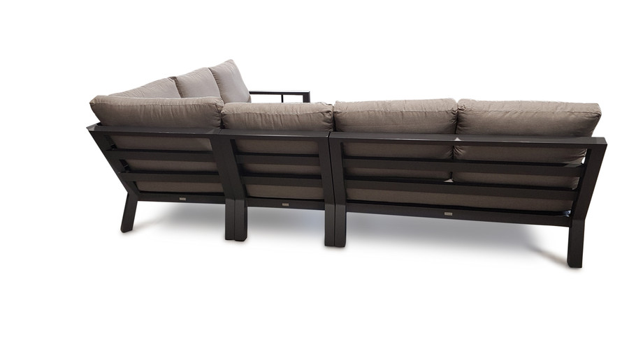 An alternative rear view of the Life Alu. Timber modular corner lounge set. All modular items are available individually to create a customized corner set