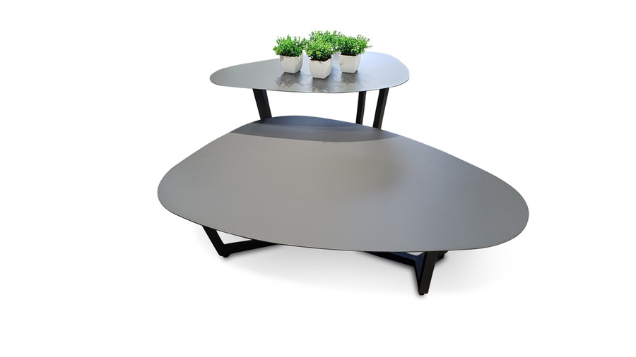 An alternate view of both available Leaf outdoor coffee tables.