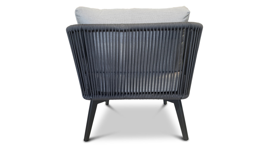 Rear view of Diva outdoor lounge chair in charcoal powder-coated aluminium with outdoor rope and Sunbrella cushions.