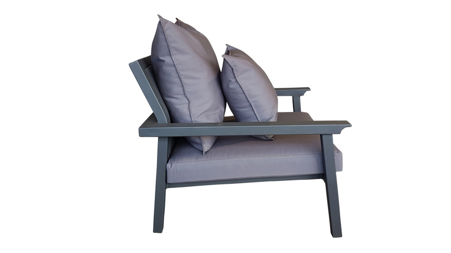 Side profile of Maiori Classique outdoro arm chair in charcoal