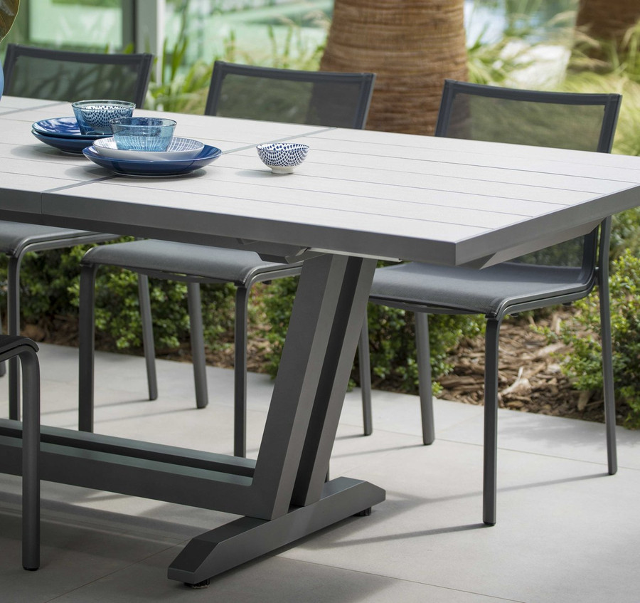 Amaka table shown with Space Grey aluminium frame