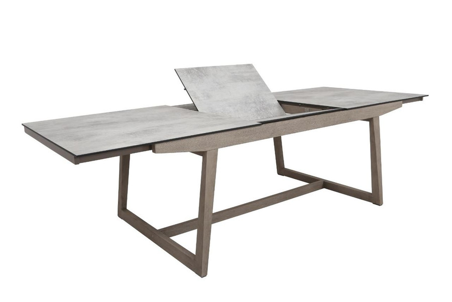 Les Jardins outdoor teak table with HPL top - showing extension leaf