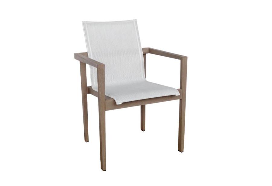Les Jardins teak outdoor side chair finished in Duratek. Seat is premium Batyline Eden mesh.