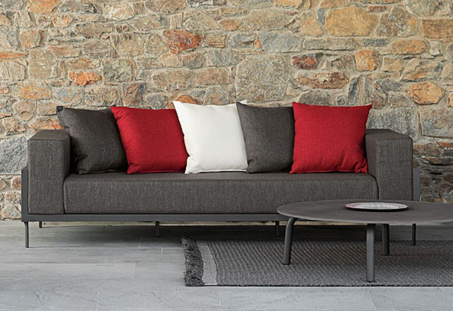 another view of Cleo outdoor sofa shown with optional Cleo 75cm concrete top coffee table