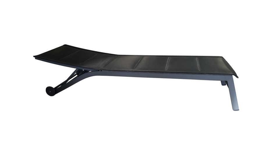 Boston sun lounger in black, with backrest in lowest position. (This colour not currently available)