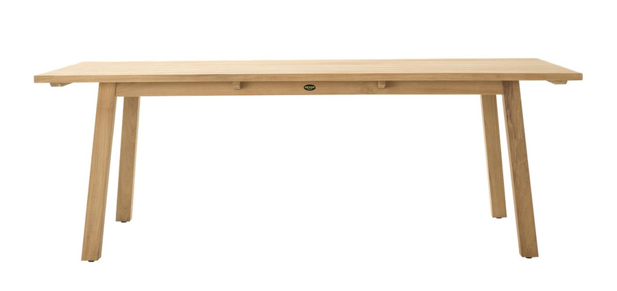 Side view of Devon St Clair outdoor table in teak wood. 2200 L x 1000 W x 765 H