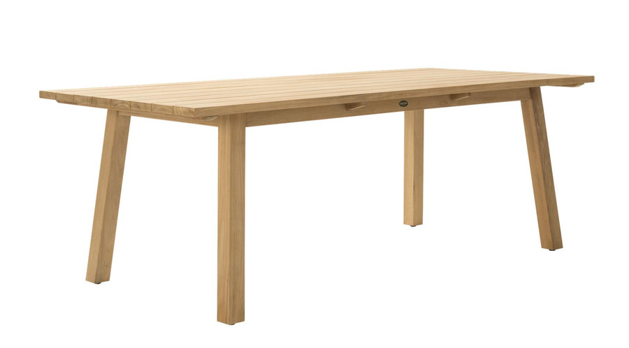 Angle view of Devon St Clair outdoor table in teak wood. 2200 L x 1000 W x 765 H