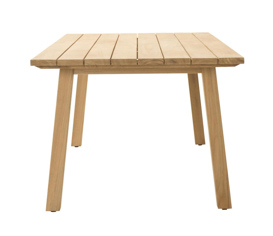End view of Devon St Clair outdoor table in teak wood. 2200 L x 1000 W x 765 H
