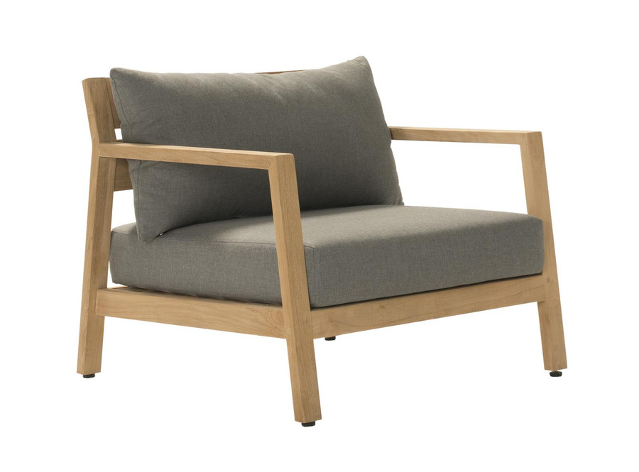 Angle view of Kisbee outdoor teak lounge chair