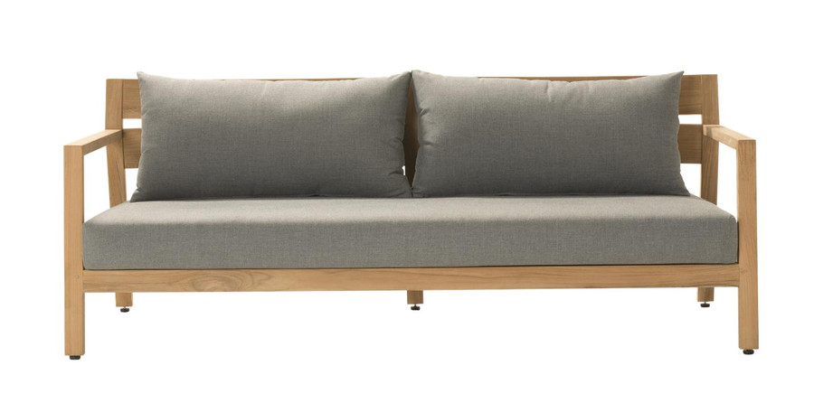 Front view of Devon Kisbee outdoor teak sofa
