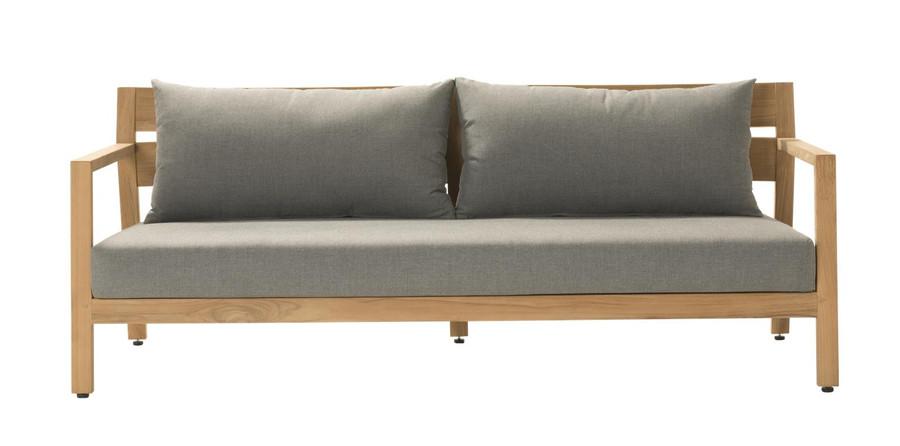 Front view of Devon Kisbee outdoor teak sofa