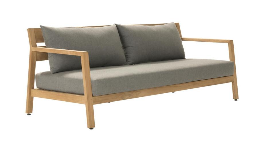 Angle view of Devon Kisbee outdoor teak sofa