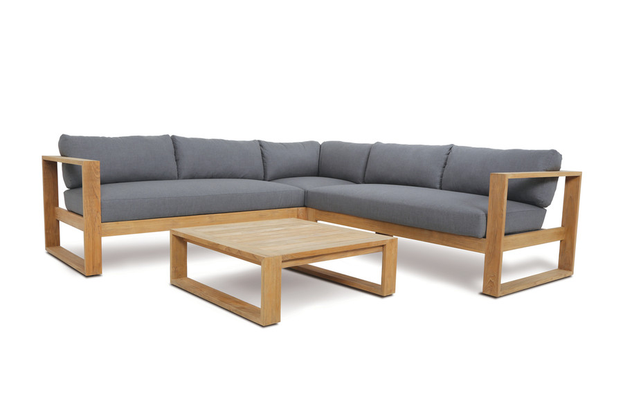 Devon Milford outdoor teak corner sofa set, including left arm, right arm and corner module. Coffee table available also.
