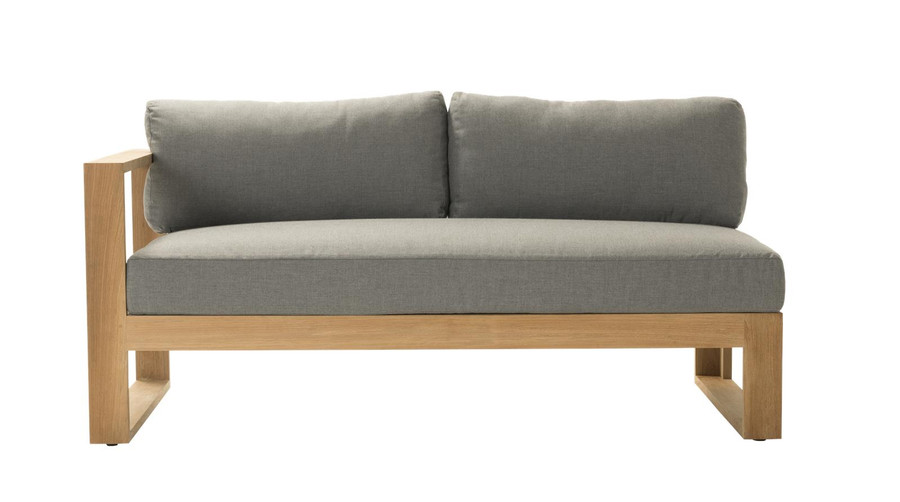 Front view of Devon Milford outdoor teak right arm sofa. Part of the Milford corner sofa set