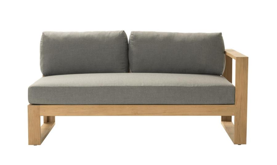 Front view of Devon Milford outdoor teak left arm sofa. Part of the Milford corner sofa set