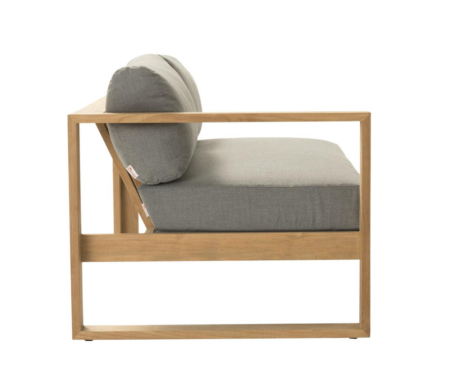 Side view of Devon Milford outdoor teak right arm sofa. Part of the Milford corner sofa set