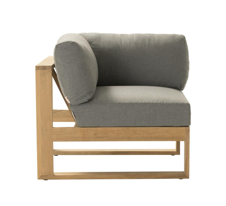 Side view of Devon Milford outdoor teak corner sofa. Part of the Milford corner sofa set