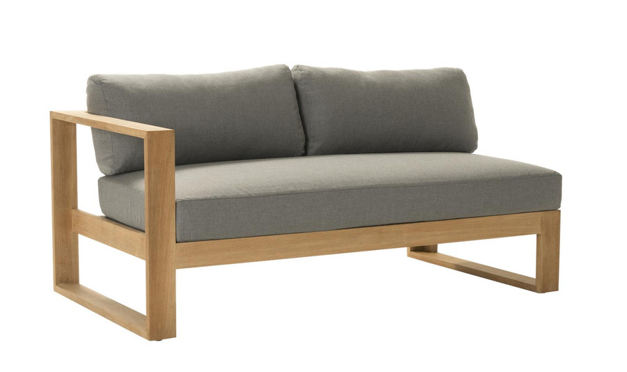 Angle view of Devon Milford outdoor teak right arm sofa. Part of the Milford corner sofa set