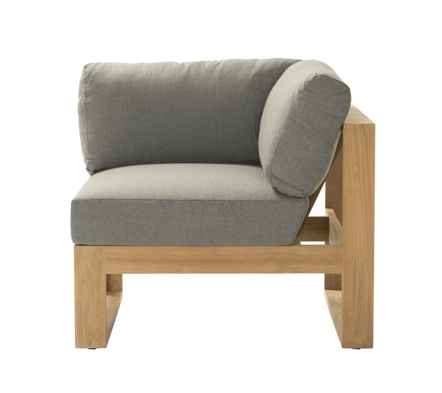 End view of Devon Milford outdoor teak corner sofa. Part of the Milford corner sofa set