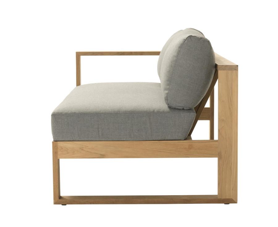 End view of Devon Milford outdoor teak right arm sofa. Part of the Milford corner sofa set