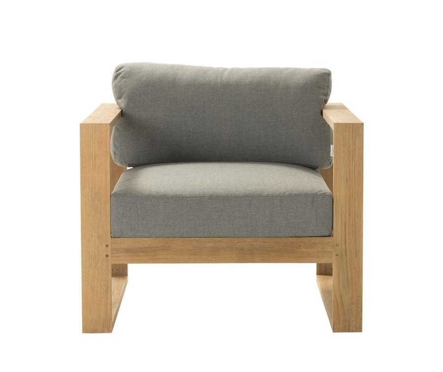 Front view of Devon Milford outdoor teak lounge chair