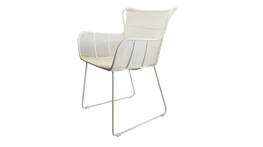 Angled view of Bunga outdoor cord wicker chair