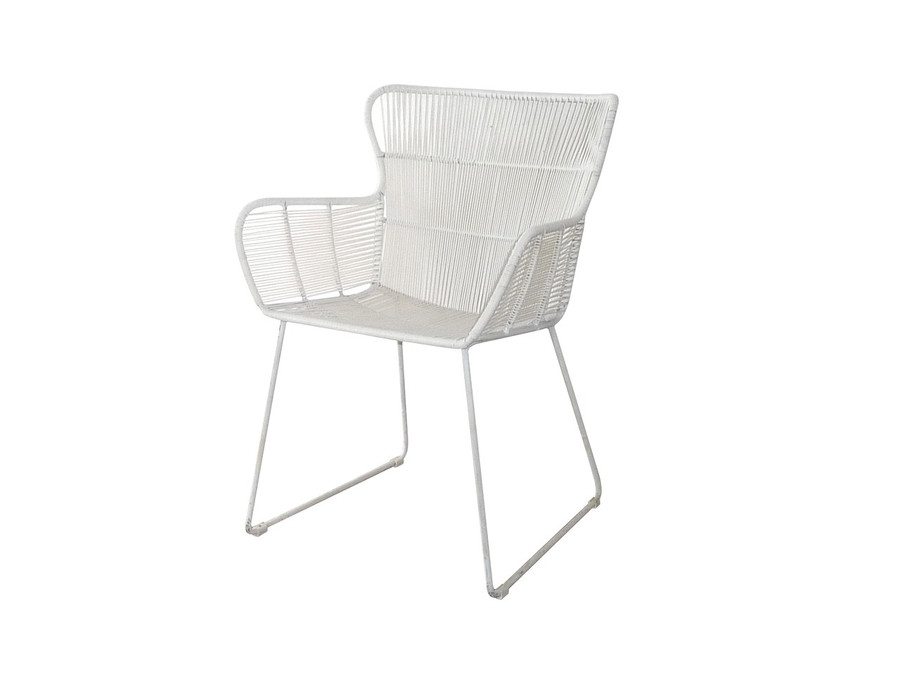 Bunga outdoor cord wicker chair in stone white finish