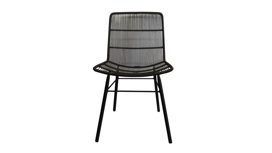 Front view of Rose outdoor dining side chair in Lava