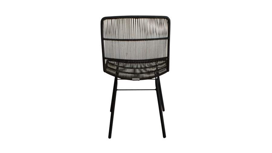 Rear view of Rose outdoor dining side chair in Lava